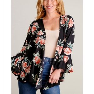 Sweaters - Black Floral Bell Sleeve Kimono